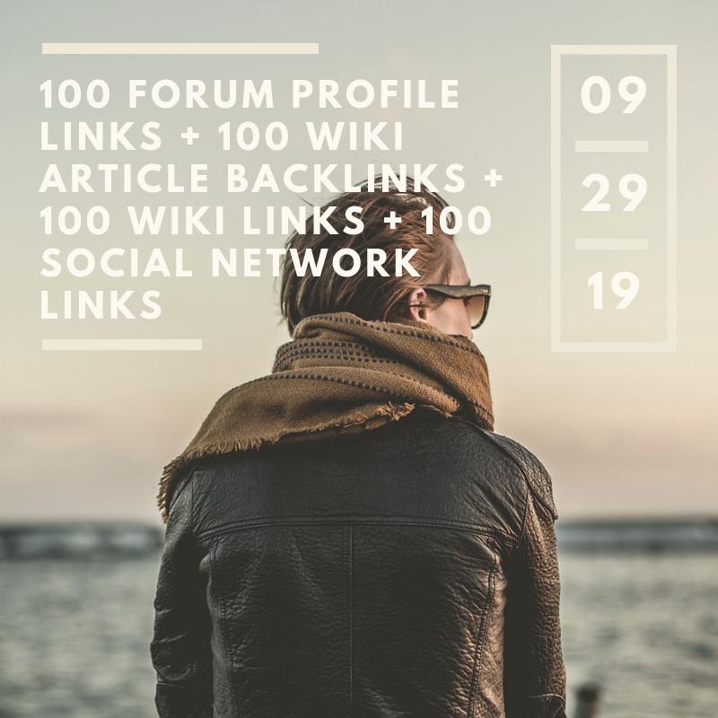 100 Forum Profile links + 100 wiki article backlinks + 100 wiki links + 100 social network links