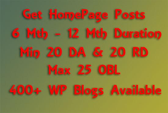 Affordable Bulk Homepage Posts 6 - 12 Months Duration on Sites DA 20+ & RD 20+
