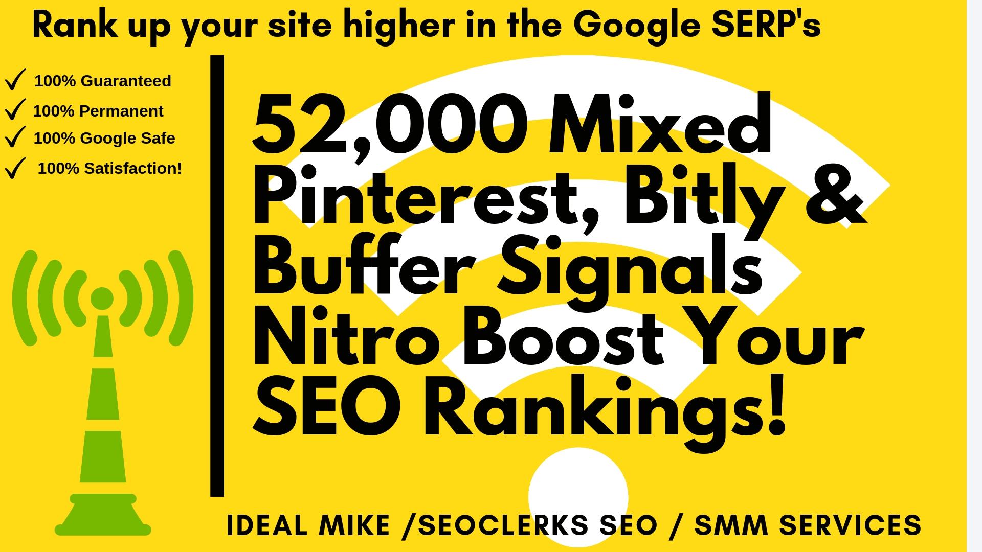 52,000 Mixed Pinterest Bitly & Buffer Social Signals Nitro Boost Your SEO Rankings