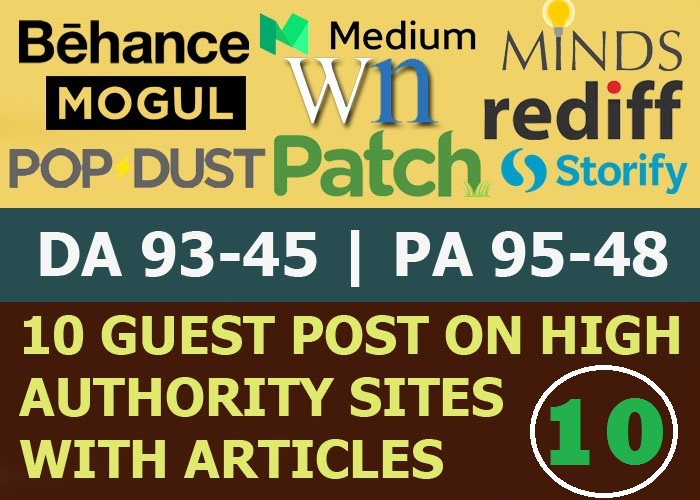 Write and Publish 10 Guest Post On High Authority Website,  Not PBN Limited Offer