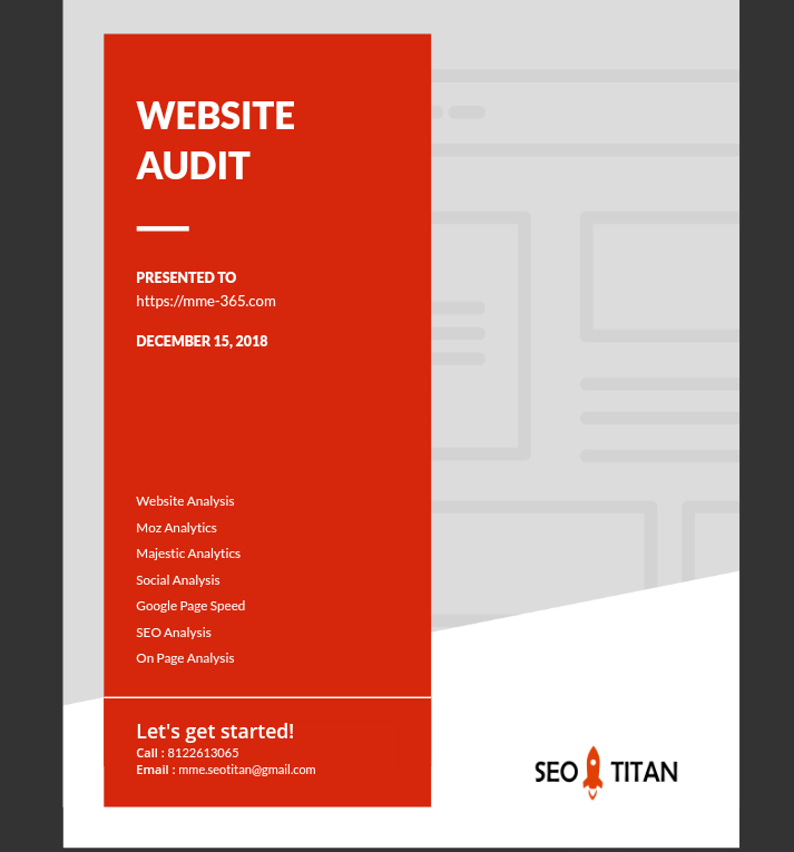 1 Custom SEO Report & Website Audit