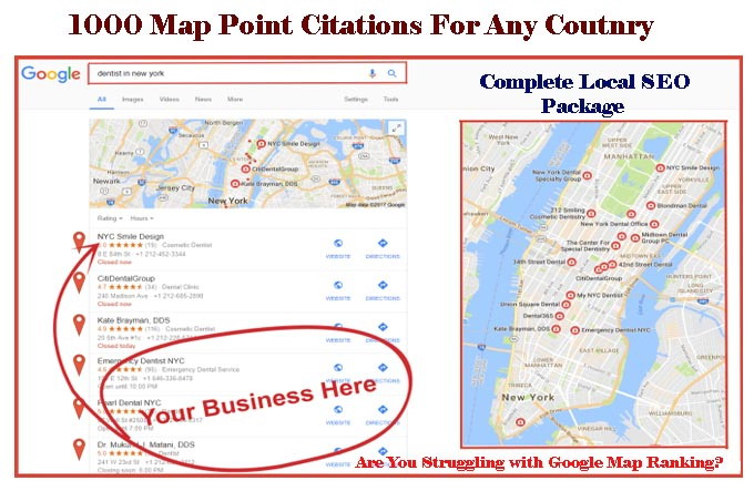 do 300 google Map point citations for any country any...