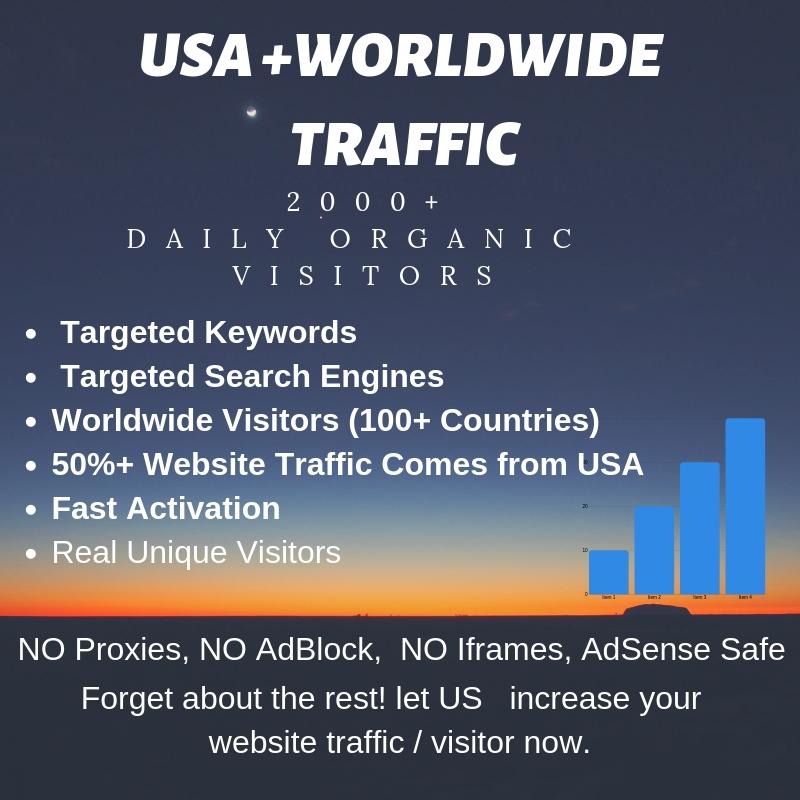 Real Organic web Traffic Usa,  Europe 2000 visitors a day