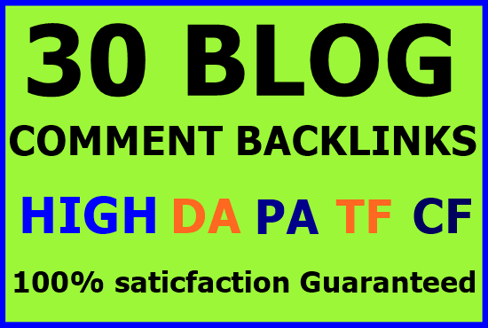 30 niche related blog comments backlinks high DA PA-Top service