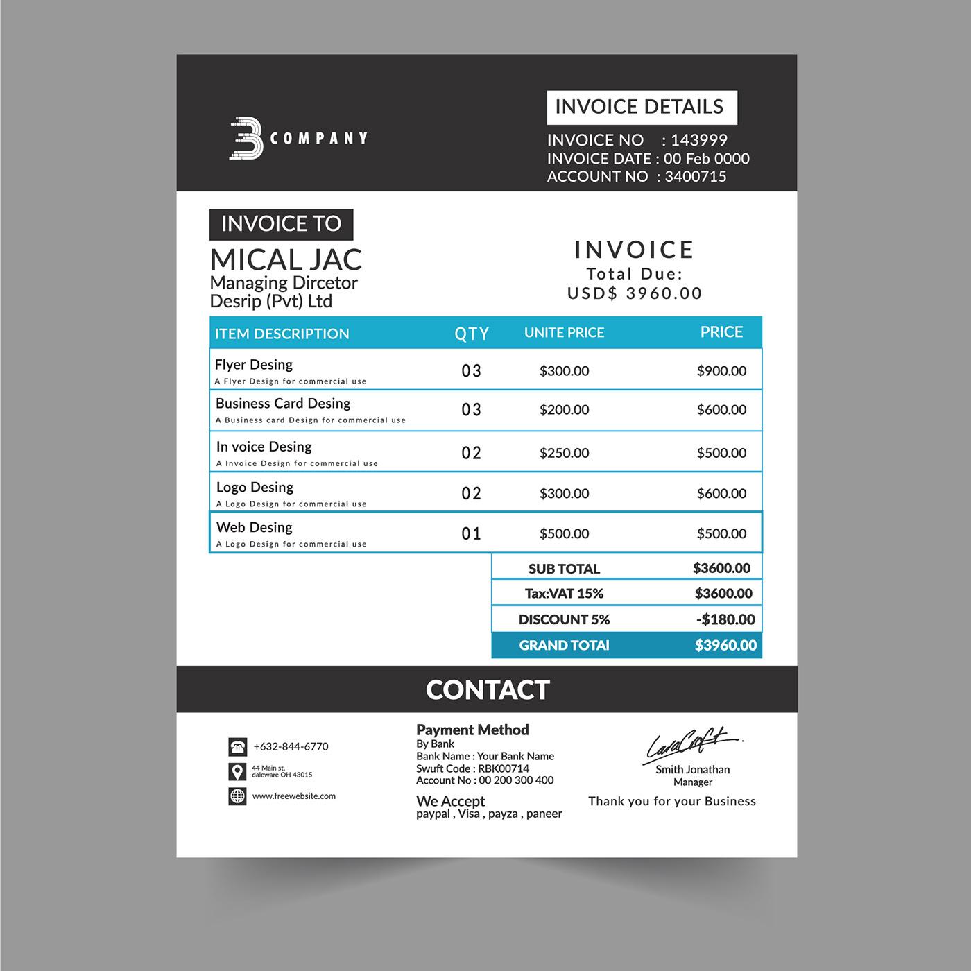 Design Outstanding Invoice