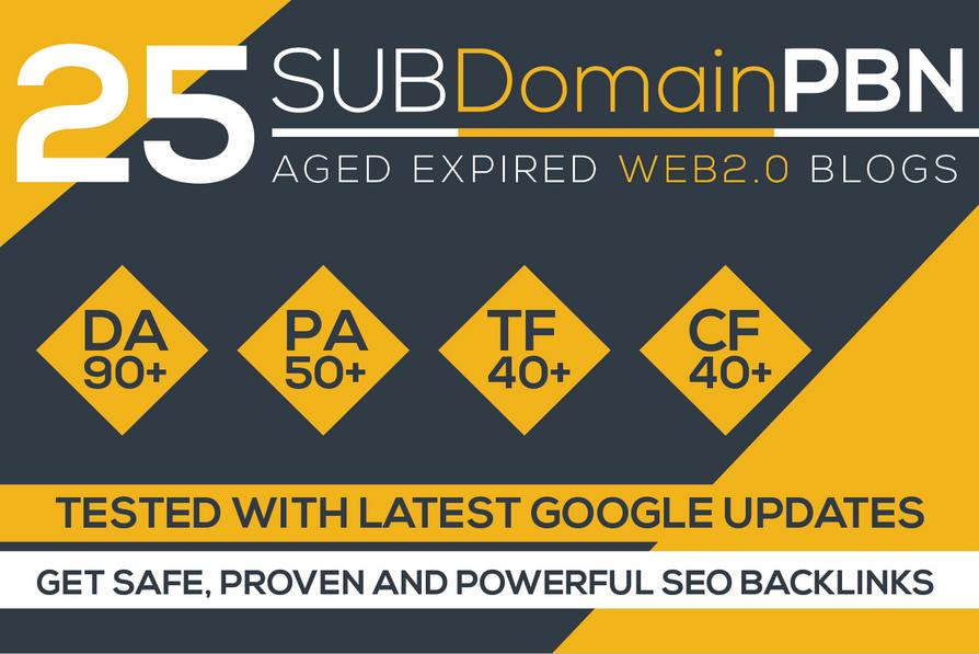 build 25 pbn backlinks,  high metrics aged web2 pbn posts promotion
