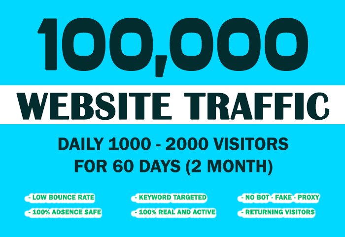 Send 100,000 Keyword Targeted Organic Traffic With Low Bounce Rate
