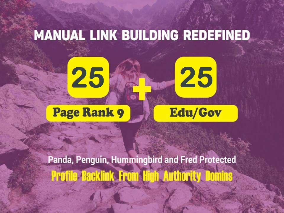 50 PR9 +. EDU/. GOV High Authority Backlinks Google Rank Booster