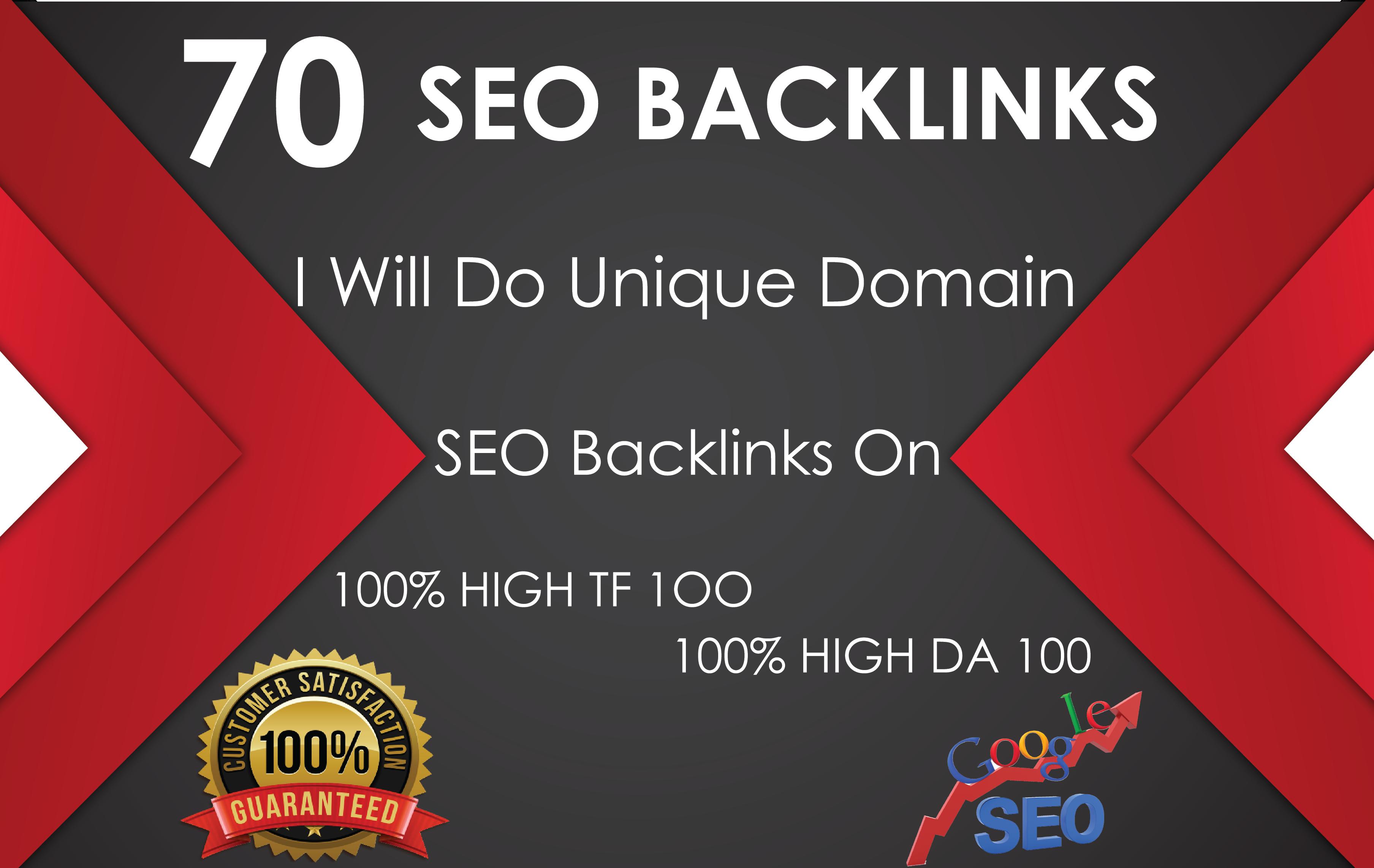 Do 70 Unique Domain SEO Backlinks On Tf100 Da100 Sites
