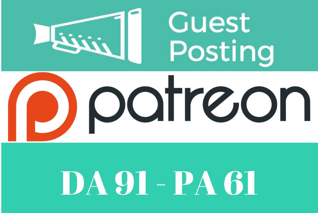 Publish Guest Post On Patreon,  Patreon. com DA 91