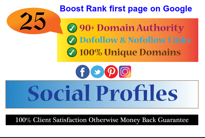 create High DA 90 social profiles setup or profile creations backlinks
