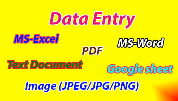 Data Entry,  Copy Paste,  Typing,  MS Excel,  MS Word,  Text Document,  Google sheet Etc