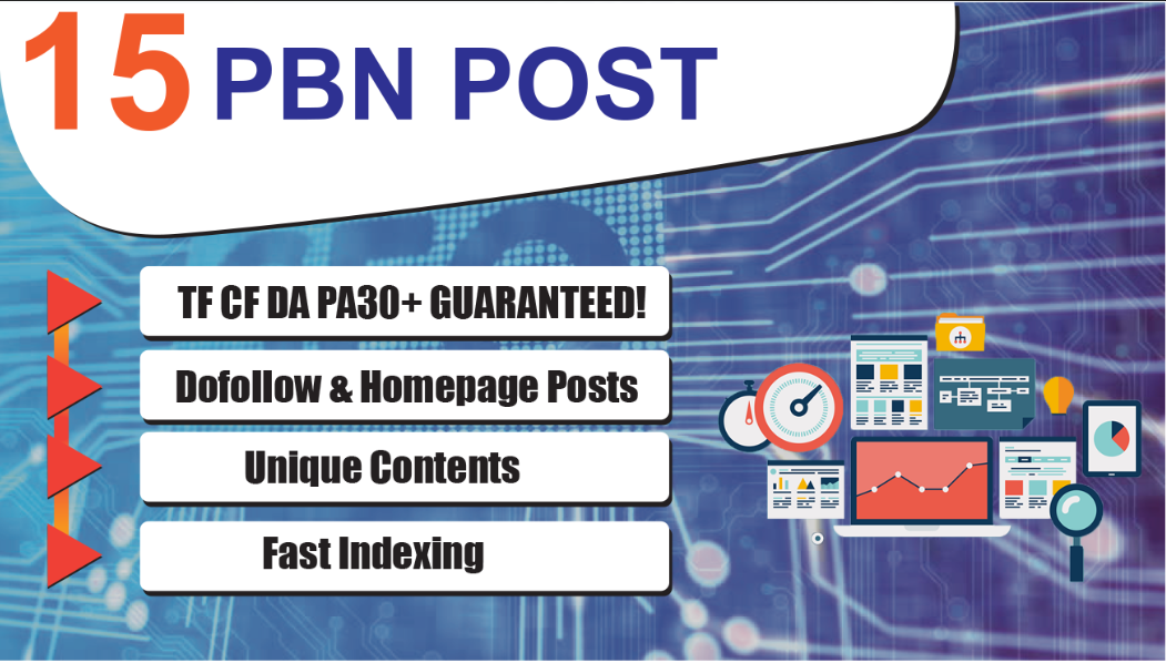 15 Dofollow Homepage PBN Backlinks - DA PA TF CF UPTO 30 Plus