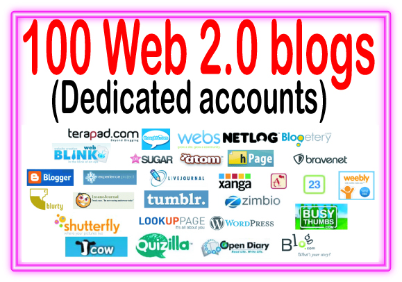 100+ Web 2.0 blogs Of High Quality backlinks for your...