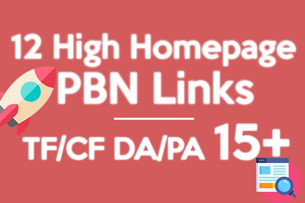Provide 12 High PA/DA TF/CF Homepage PBN Backlinks To Skyrocket you SERP on Google