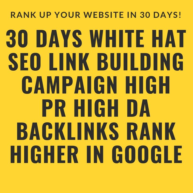30 Days White Hat SEO Link Building Campaign High PR High DA Backlinks Rank Higher in Google