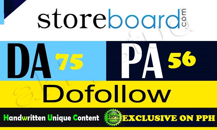 Write A Guest Post On Storeboard. com DA75