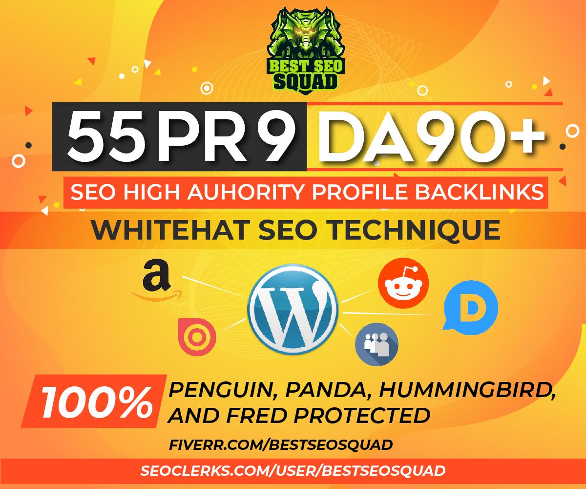 Manually Create 55 High Authority SEO Profile Backlinks DA 90+