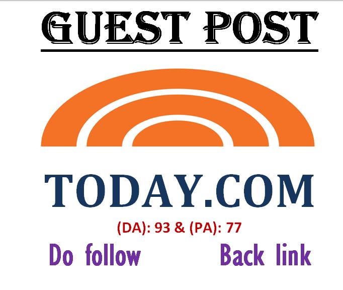 Write & publish premium guest post on Today. com DA-93