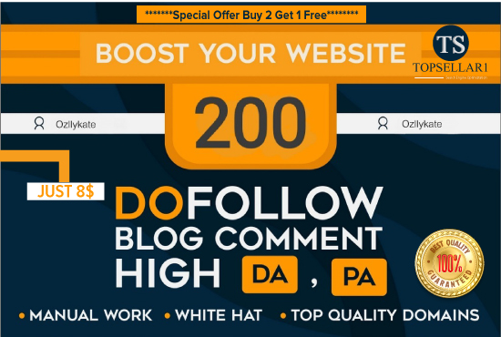 Submit 200 manually quality dofollow high da pa blog comments backlinks