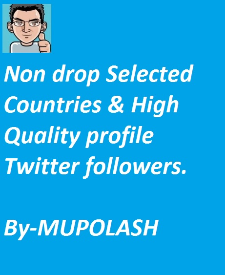 1000+ Non drop Selected Countries & High Quality profile Twltter followers within instenly