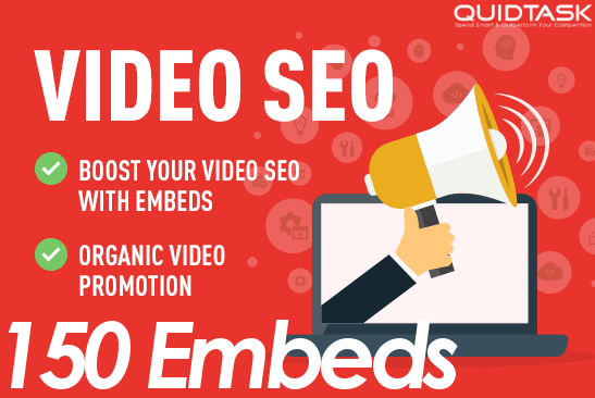 Create 150 Video Embeds and promote to 1 Million real people that will boost your Video SEO, Rank and SERP