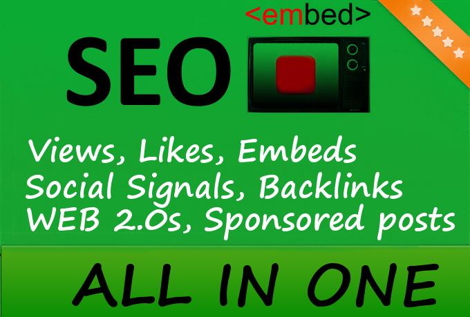 30,000 YouTube Views, 1000 Embeds, 50 PR9 Social Signals