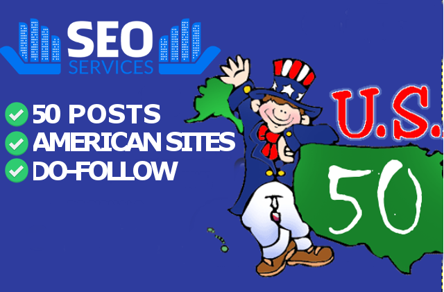 50 AMERICAN Backlinks with Sponsored Posts from unique websites for each state