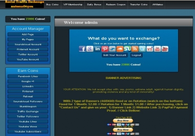 Join my Social Traffic Exchange site and Get 1,000 Coins Free Offer