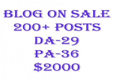 Blog On sale 200+ posts DA-29 PA-36 with custom domain