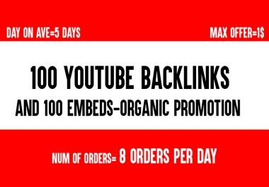 Need 100 YouTube Backlinks and 100 Embeds