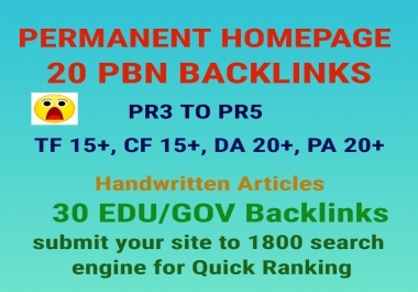 I Will Do 20 Best Pbn Backlinks 30 Edu/Gov and submit to 1800 search engine