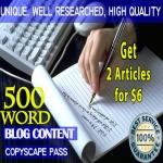 Write 2 Original 500 Word ARTICLE