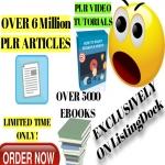 8,000,000 PLR Articles,  5000 Ebooks and PLR Video Tutorial