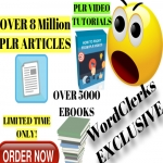 8,000,000 plr articles,  5000 ebooks and plr video training